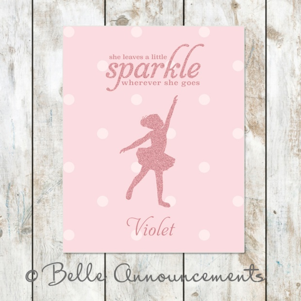 Personalized Ballerina Wall Art with Glitter Effect