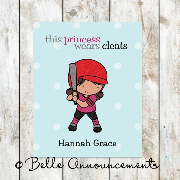 This Princess Wears Cleats Personalized Softball Print