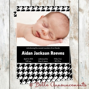 Houndstooth baby announcement