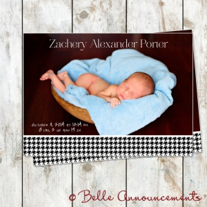 houndstooth birth announcement