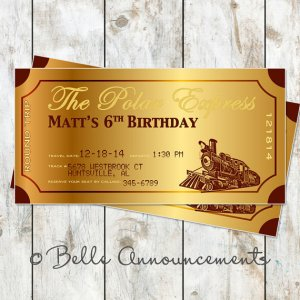 Polar Express Birthday Invitations
